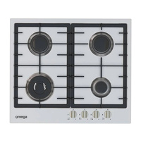 Omega OCG63FXB1 60cm Stainless Steel Gas Cooktop