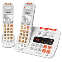 Uniden SSE45+1 White Visual and Hearing Impaired Two Handset Cordless Phone System