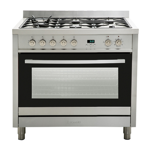 Euromaid EG90S 90cm Stainless Steel Freestanding Dual Fuel Upright Cooker